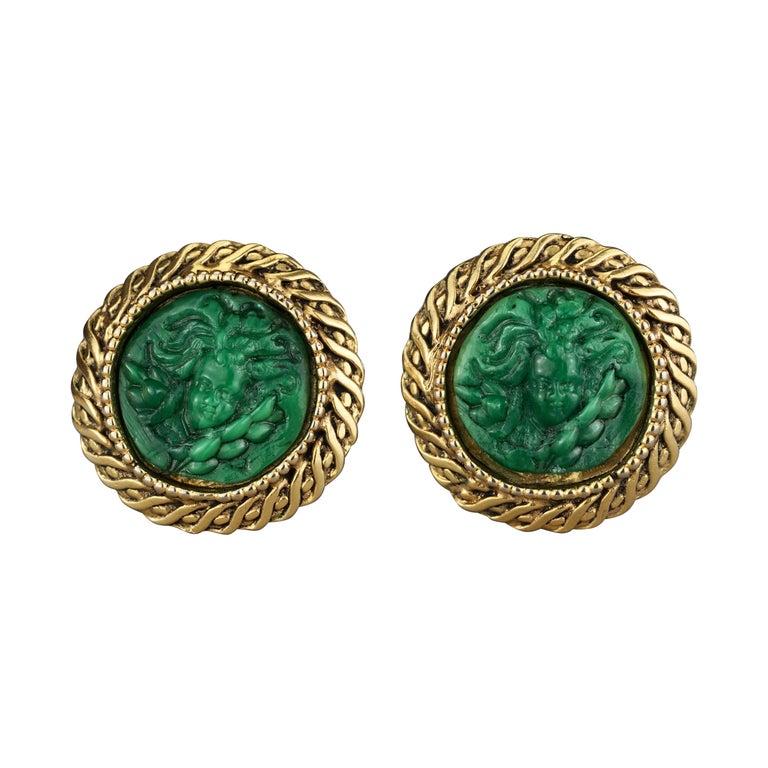Vintage Massive KALINGER Cherub Carved French Earrings For Sale