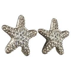 Vintage Massive KALINGER PARIS Textured Starfish Silver Earrings