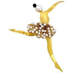 Vintage Massive KARL LAGERFELD Ballerina Mesh Jewelled Tutu Whimsical Brooch