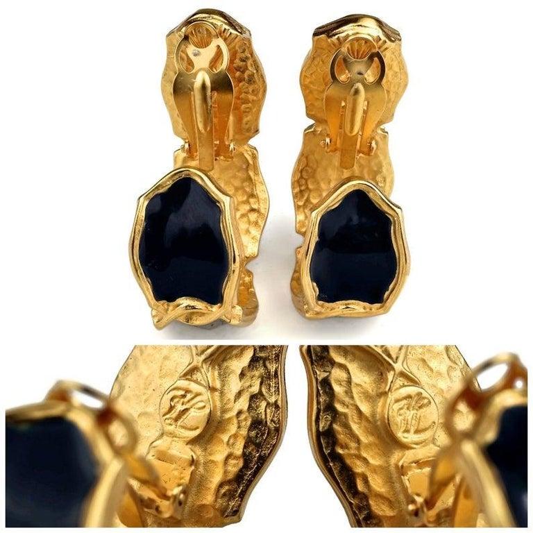 Vintage Massive KARL LAGERFELD Blue Enamel Creole Hoop Earrings For Sale 6