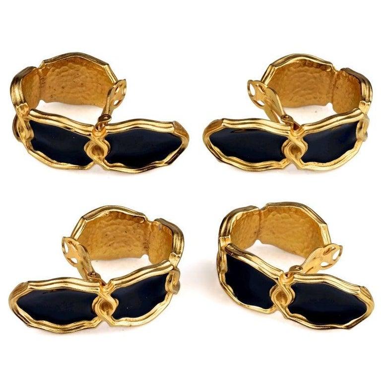 Women's Vintage Massive KARL LAGERFELD Blue Enamel Creole Hoop Earrings For Sale