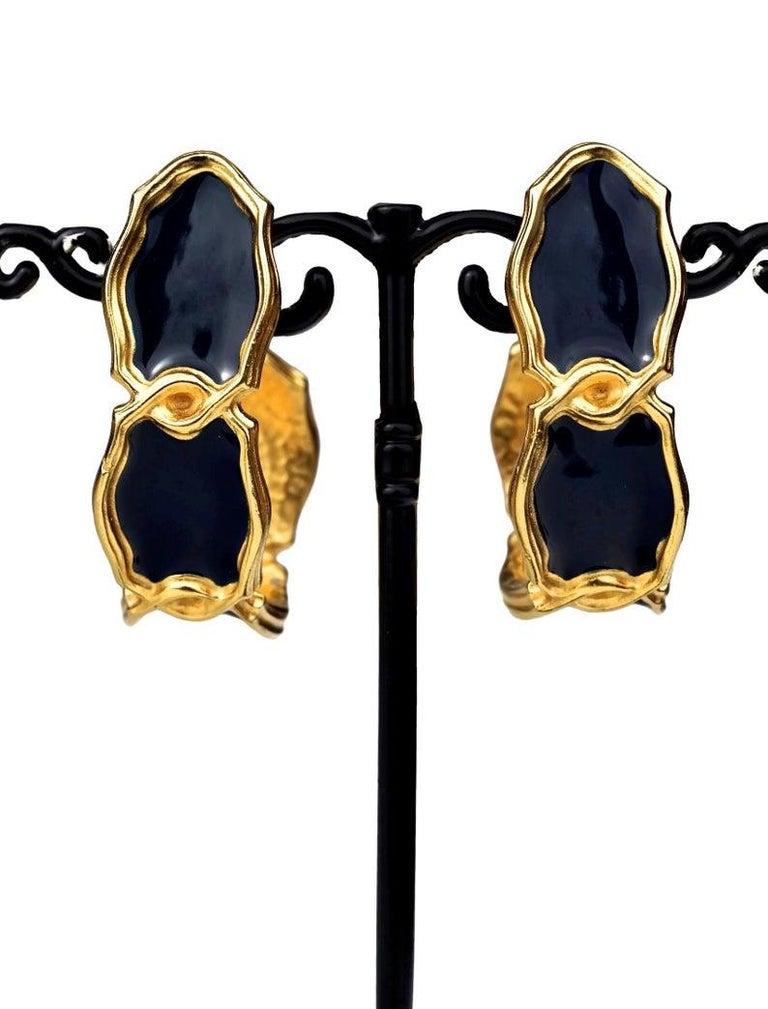 Vintage Massive KARL LAGERFELD Blue Enamel Creole Hoop Earrings For Sale 1