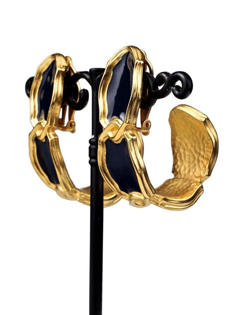 Vintage Massive KARL LAGERFELD Blue Enamel Creole Hoop Earrings For Sale 2