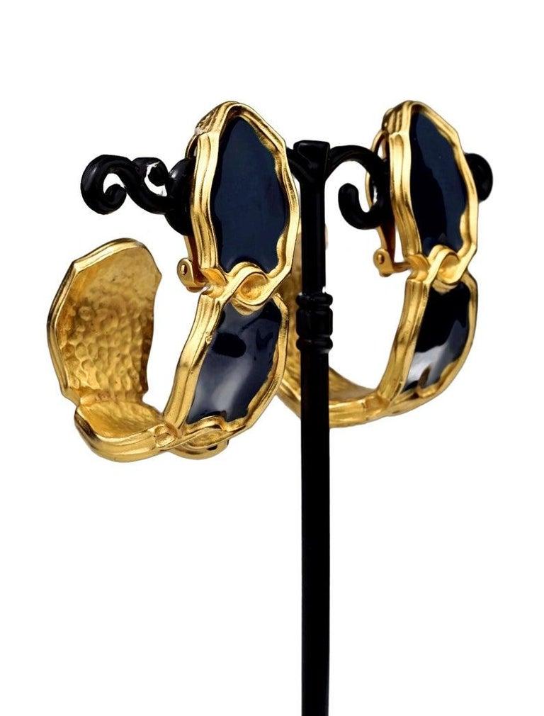 Vintage Massive KARL LAGERFELD Blue Enamel Creole Hoop Earrings For Sale 3