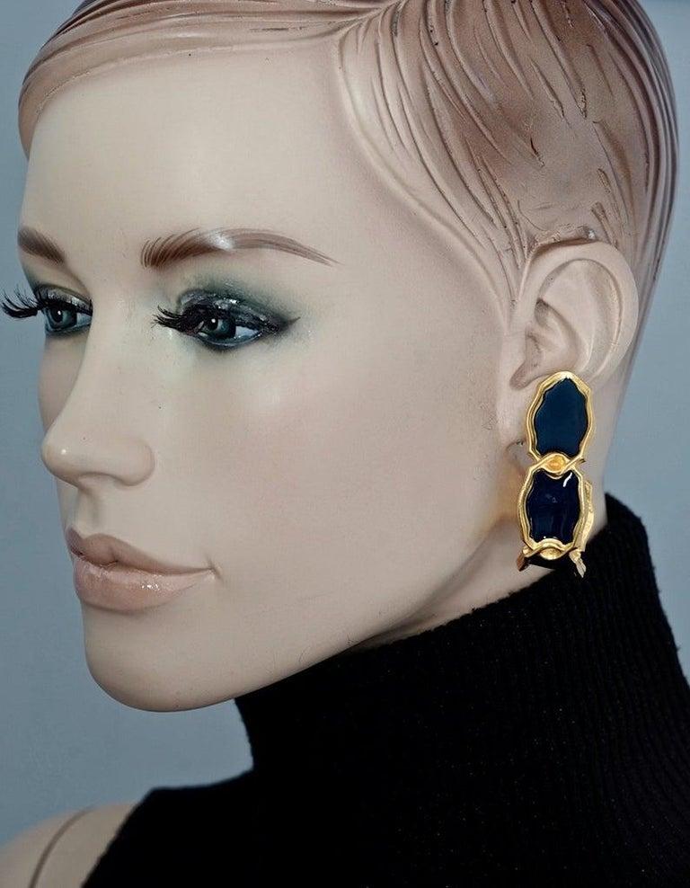 Vintage Massive KARL LAGERFELD Blue Enamel Creole Hoop Earrings For Sale 4