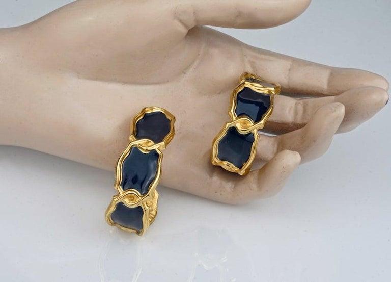 Vintage Massive KARL LAGERFELD Blue Enamel Creole Hoop Earrings For Sale 5