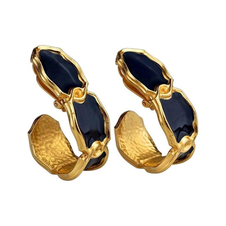 Vintage Massive KARL LAGERFELD Blue Enamel Creole Hoop Earrings For Sale