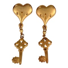 Vintage Massive KARL LAGERFELD Heart Padlock Key Dangling Earrings