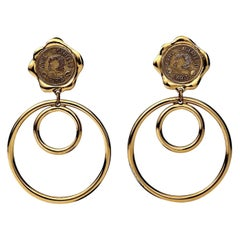 Vintage Massive KARL LAGERFELD Profile Wax Seal Double Hoop Earrings