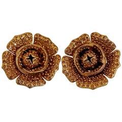 Vintage Massive LANVIN PARIS Flower Citrine Rhinestone Earrings