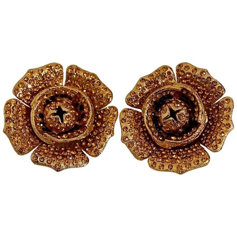 Vintage Massive LANVIN PARIS Flower Citrine Rhinestone Earrings For Sale