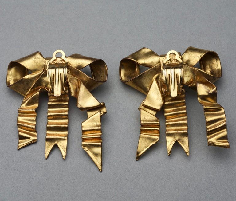 Vintage Massive PATRICK RETIF French Ribbon Earrings For Sale 6