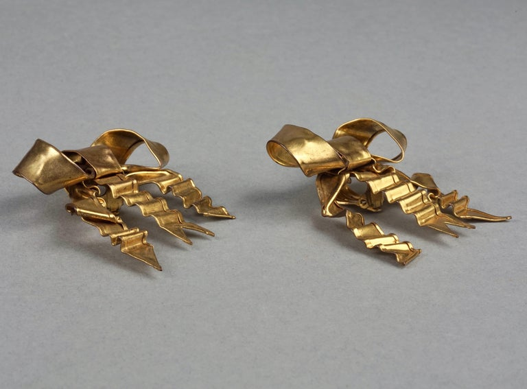 Women's Vintage Massive PATRICK RETIF French Ribbon Earrings For Sale