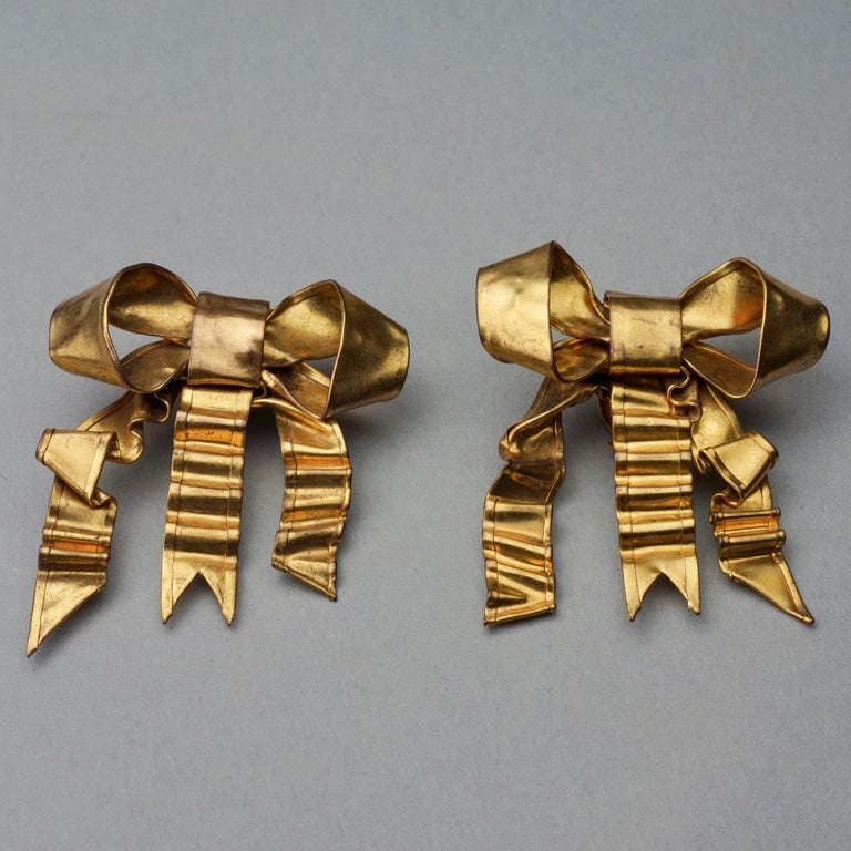 Vintage Massive PATRICK RETIF French Ribbon Earrings For Sale 1