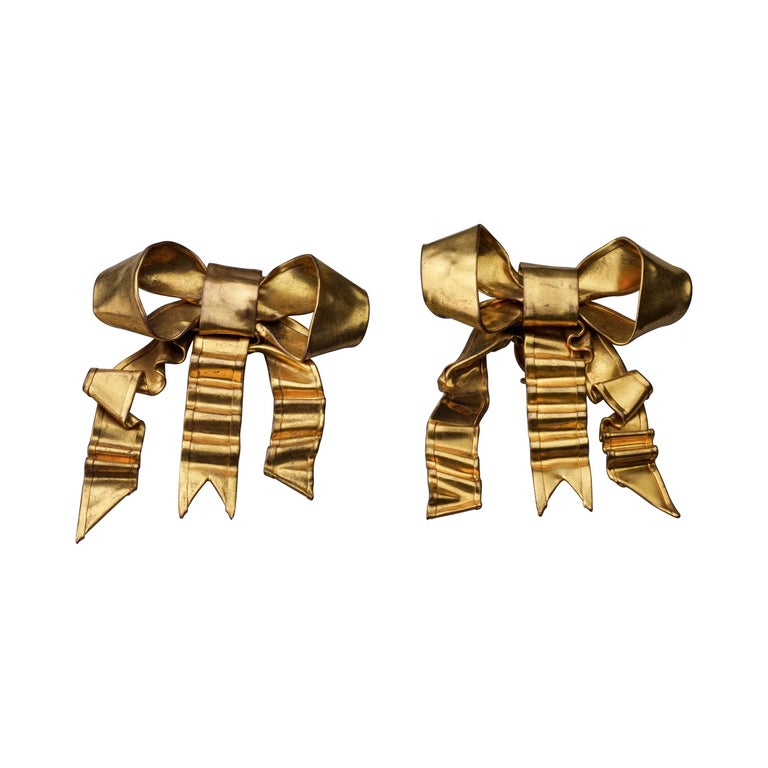 Vintage Massive PATRICK RETIF French Ribbon Earrings For Sale
