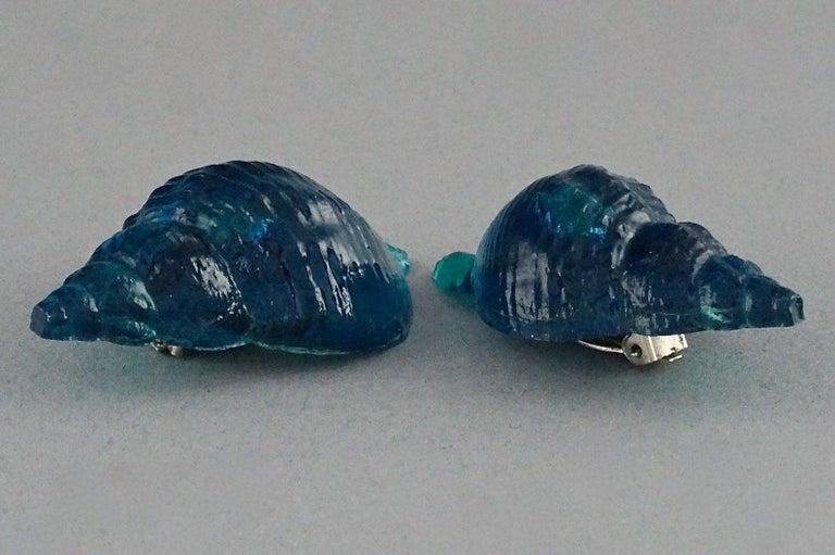 Vintage Massive ROCHAS PARIS Sea Shell Lucite Earrings For Sale 1