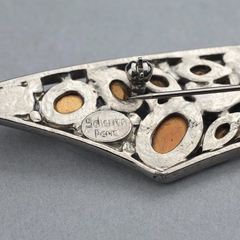 Vintage Massive SCHERRER PARIS Rhinestone Studded Brooch For Sale 5