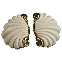 Vintage Massive VALENTINO Lapis Lazuli Shell Earrings