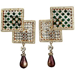 Vintage Massive VALENTINO NIGHT Rhinestone Pearl Drop Earrings