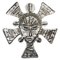 Vintage Massive XAVIER LOUBENS Ethnic Face Silver Brooch