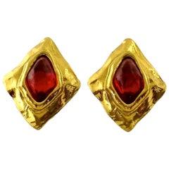 Vintage Massi\ve YSL Yves Saint Laurent Diamond Ruby Stone Earrings