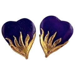 Vintage Massive YSL Yves Saint Laurent Wood Purple Heart Textured Gilt Earrings