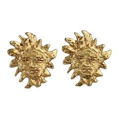 Vintage Massive YVES SAINT LAURENT Goossens Ysl Sun Face Earrings