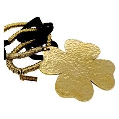 Vintage Massive YVES SAINT LAURENT Hammered Clover Necklace