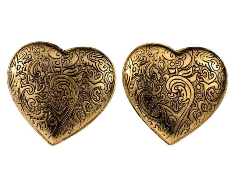 Vintage Massive YVES SAINT LAURENT Ysl Arabesque Heart Earrings In Excellent Condition For Sale In Kingersheim, Alsace