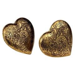 Vintage Massive YVES SAINT LAURENT Ysl Arabesque Heart Earrings