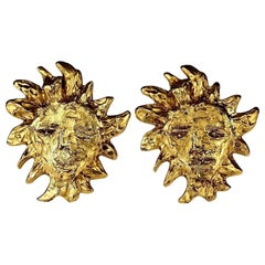 Vintage Massive YVES SAINT LAURENT Ysl by Robert Goossens Sun Face Earrings