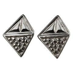 Vintage Massive YVES SAINT LAURENT Ysl Diamond Nugget Silver Earrings