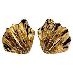 Vintage Massive YVES SAINT LAURENT Ysl Fan Coral Shell Earrings