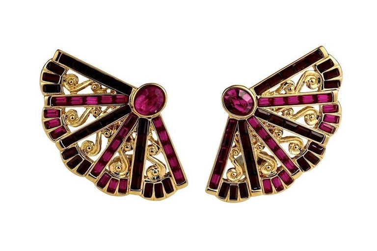 Vintage Massive YVES SAINT LAURENT Ysl Fan Rhinestone Earrings In Excellent Condition For Sale In Kingersheim, Alsace