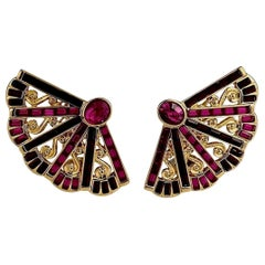 Vintage Massive YVES SAINT LAURENT Ysl Fan Rhinestone Earrings