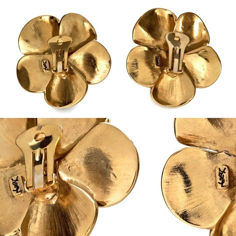 Vintage Massive YVES SAINT LAURENT Ysl Flower Enamel Rhinestone Earrings For Sale 6