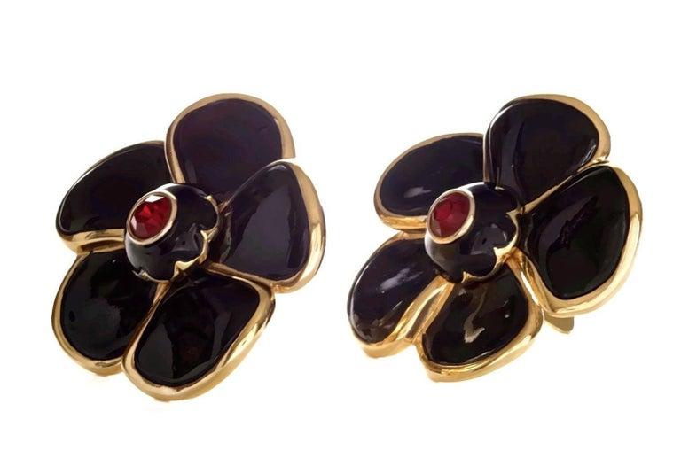 Women's Vintage Massive YVES SAINT LAURENT Ysl Flower Enamel Rhinestone Earrings For Sale