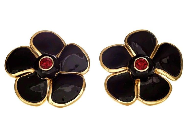 Vintage Massive YVES SAINT LAURENT Ysl Flower Enamel Rhinestone Earrings For Sale 1