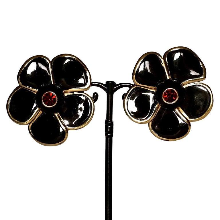 Vintage Massive YVES SAINT LAURENT Ysl Flower Enamel Rhinestone Earrings For Sale 2
