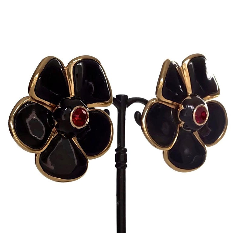 Vintage Massive YVES SAINT LAURENT Ysl Flower Enamel Rhinestone Earrings For Sale 3