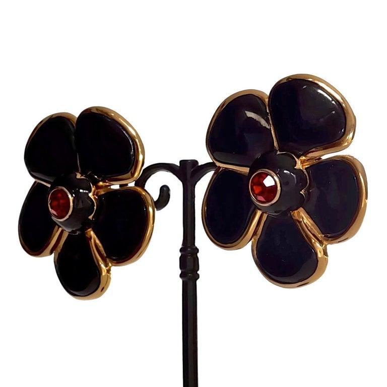 Vintage Massive YVES SAINT LAURENT Ysl Flower Enamel Rhinestone Earrings For Sale 4
