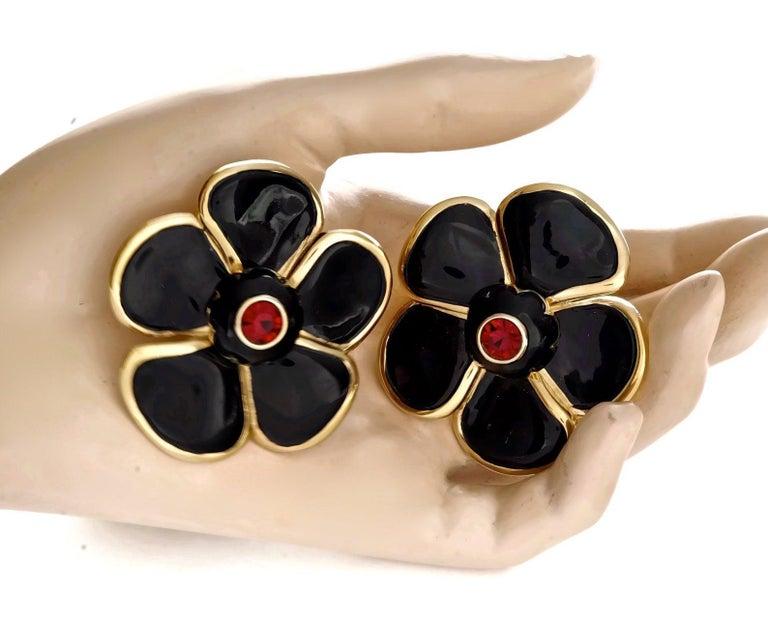 Vintage Massive YVES SAINT LAURENT Ysl Flower Enamel Rhinestone Earrings For Sale 5