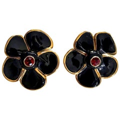 Vintage Massive YVES SAINT LAURENT Ysl Flower Enamel Rhinestone Earrings
