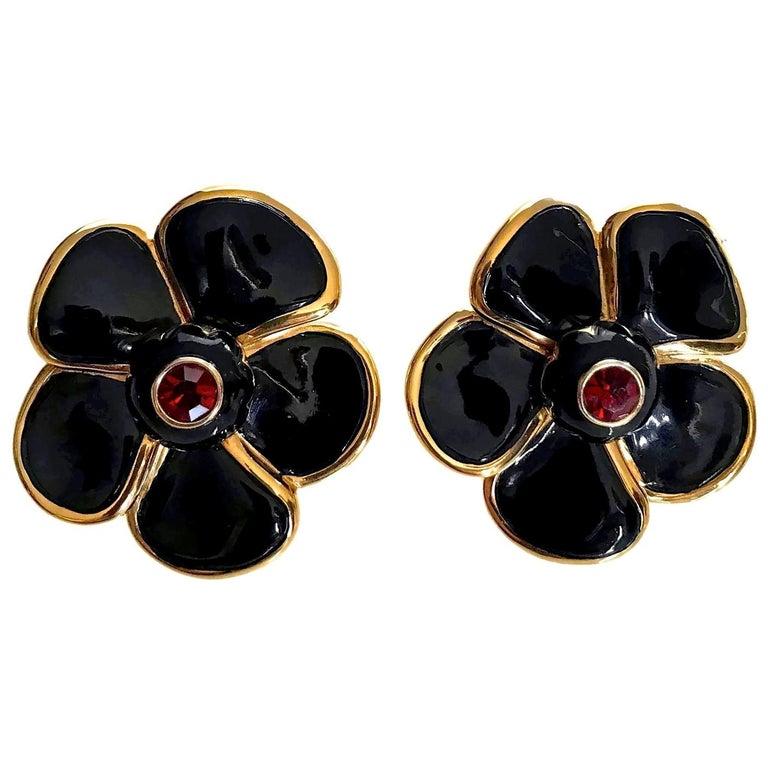 Vintage Massive YVES SAINT LAURENT Ysl Flower Enamel Rhinestone Earrings For Sale