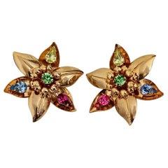 Vintage Massive YVES SAINT LAURENT Ysl Flower Rhinestone Earrings