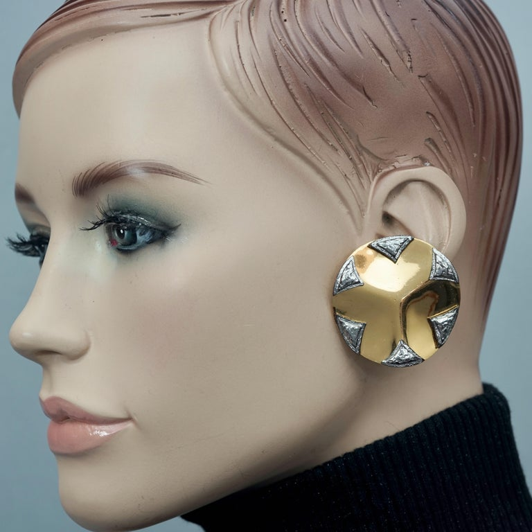 Vintage Massive YVES SAINT LAURENT Ysl Flower Ridged Disc Two Tone Earrings  Measurements: Height: 1.69 inches (4.3 cm) Width: 1.69 inches (4.3 cm) Weight per Earring: 23 grams  Features: - 100% Authentic YVES SAINT LAURENT by Robert Goossens . -