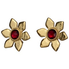 Vintage Massive YVES SAINT LAURENT Ysl Flower Ruby Red Stone Earrings