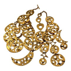 Vintage Massive YVES SAINT LAURENT Ysl Gilt Stars Moon Disc Charm Necklace