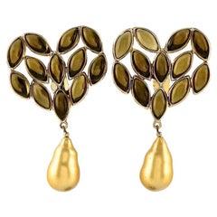 Vintage Massive YVES SAINT LAURENT Ysl Heart Cabochon Pearl Dangling Earrings