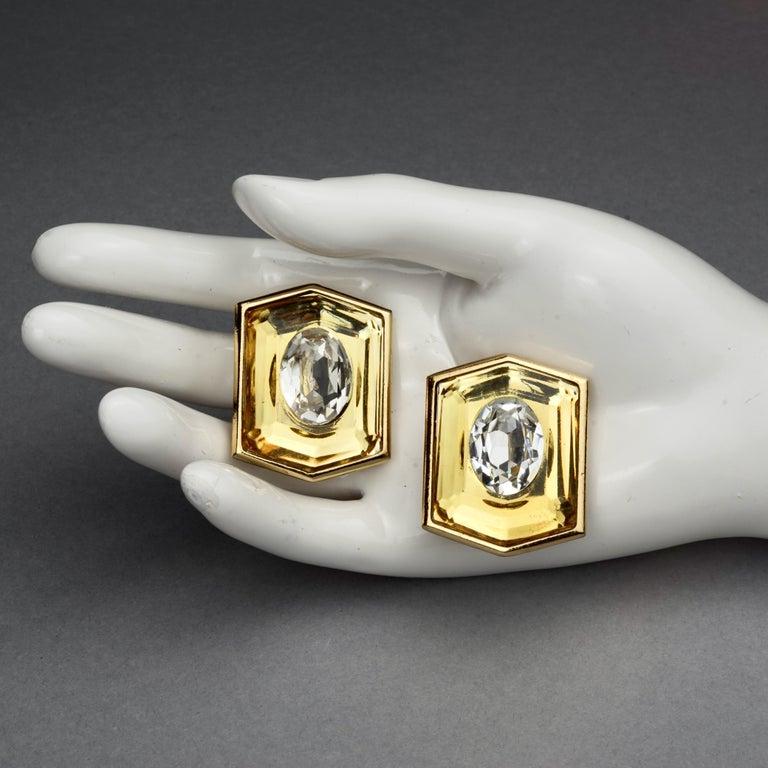 Vintage Massive YVES SAINT LAURENT Ysl Lucite Rhinestone Hexagon Earrings For Sale 6
